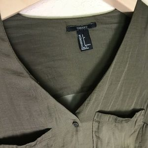 Forever 21 Tops - Forever 21 army green long sleeves blouse S